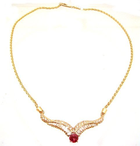 1: 14KY 1.28ct Orange Sapphire 2ct Dia Bagg Rd Necklace