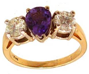 14KY 1.30ct Purple Sapphire Pear .99ct Dia Rd Ring