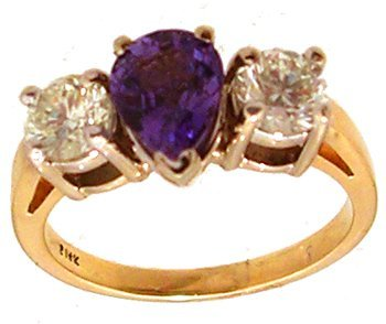 3: 14KY 1.30ct Purple Sapphire Pear .99ct Dia Rd Ring