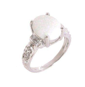 1800: 14KW 2.17ct Broadflash Opal Diamond Flower Srcoll