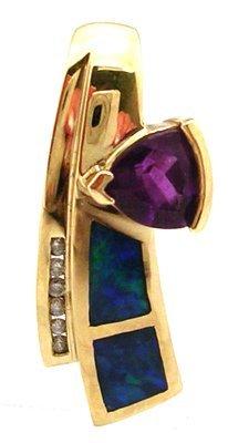 1802: 14KY Amethyst Trillion Opal Inlay Dia Slide Penda