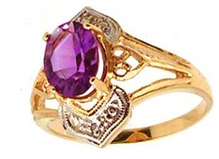 14KY 1.6ct Amethyst Oval Dia Filigree Crown Ring