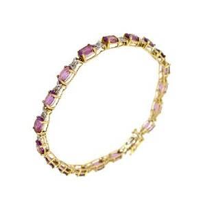10KY 8cttw Amethyst oval Diamond x bracelet