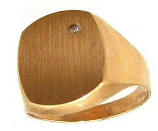 10KY Signet Square Diamond Mens Ring 4gm