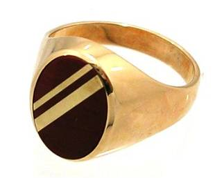 10KY Tigers Eye Gold Oval Mens Ring 5gm