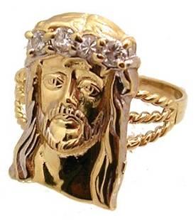 10KY Cubic Zirconia Jesus Ring