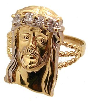1808: 10KY Cubic Zirconia Jesus Ring