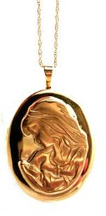 14KY Locket Mother & Child large pendant & chain