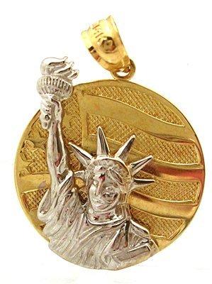 1810: 14KT Statue of Liberty Round 2 tone Pendant