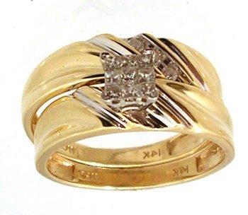 1815: 14KY .20cttw Dia Princess Rd Wedding Set Ring
