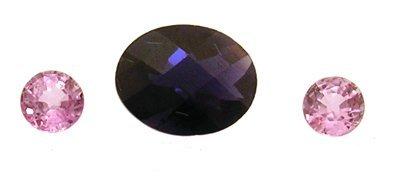 1826: 2+Ct. Iolite Pink Saphire Loose Stone Suite