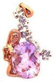 1852: 14KR Amethyst Oval Ckrbd Diamond Lady Pendant