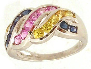 2100: 14KW 1cttw Pink Blue Yellow Sapphire chan ring