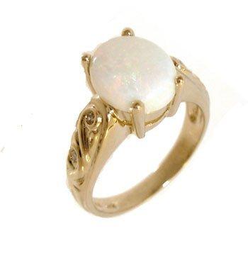 2105: 14KY 2.17ct Broadflash Opal Diamond Scroll Ring