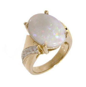 2106: 14KY 4.66ct Broadflash Opal Oval .07ct Diamond Ba