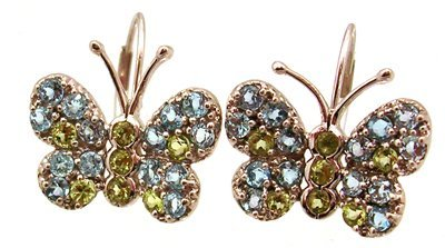 2107: 10KW Blue Topaz Peridot Butterfly Leverback Earri