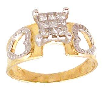 2112: 10KY .30cttw Diamond Princess Invisble Set Heart