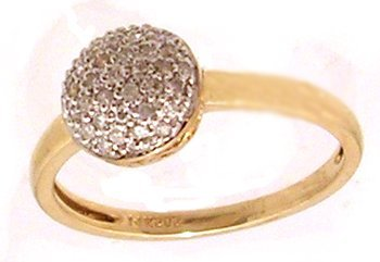 1300: 14KY.30cttw Diamond Button Ring
