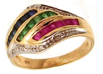 1314: 14KY .90cttw Ruby Emerald Sapphire Dia Dome Ring