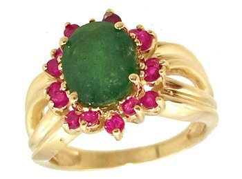 810: 14KY 2.30ct Emerald Oval .64ct Ruby Ribbed Ring
