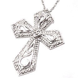 815: 14KW .08cttw Diamond Filigree Cross Necklace