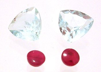 821: 4.5cttw + Aquamarine Trillion Ruby Round Loose