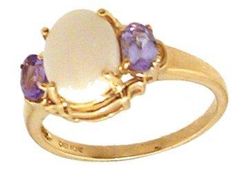 1100: 10KY Opal Tanzanite Oval 3 stone Ring