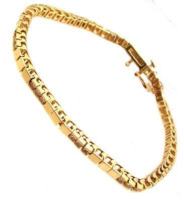 1109: 14KY 1cttw Diamond Rd Channel Square Link Bracele