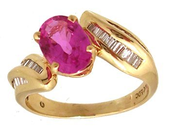 1112: 14KY 2.08ct Pink Sapp Oval .62ct Dia Ring APP$230