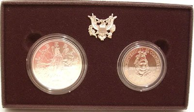 1113: Silver $1 $1/2 Dollar US Congressional Coin Set 1