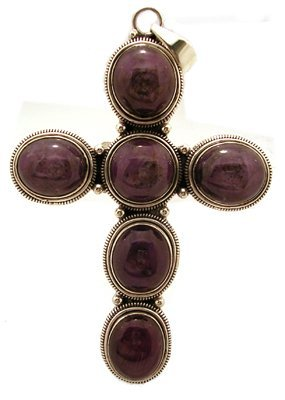 1316: SSilver Star Ruby Edged Cross Pendant