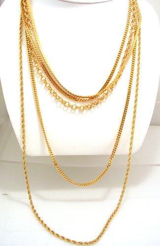 1327: 5PC Vermeil-14k & Sterling Necklace Chain 77 gram