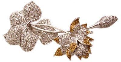1417: 18KW 5cttw Diamond Estate Rose Brooch APPRAISED