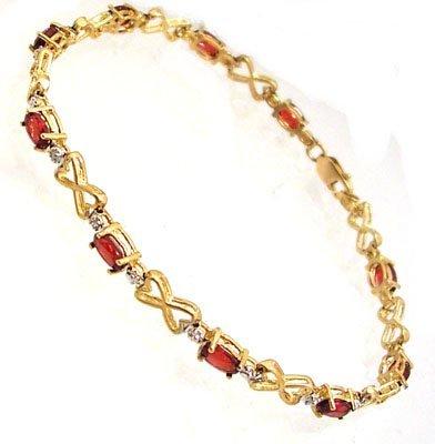 1805: 10KY 1cttw Garnet Diamond Heart Bracelet