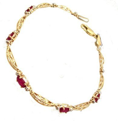 1806: 10KY 1cttw Ruby Oval Diamond Link Bar Bracelet