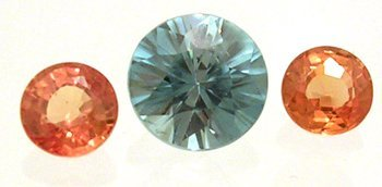 1815: 1.80+Ct. Blue Zircon Round Orange Sapphire Round