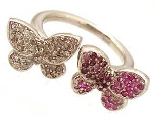 14KW 1.15ctw Pink Sapphire .61ct Diamond Butterfl