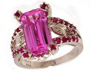 14KW 4.65ct Pink Topaz Ecut .50ct Ruby Beaded Rin