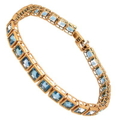 2105: 10KY 27cttw Blue Topaz sqaure bezel bracelet