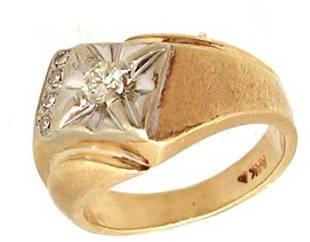 14KY .18cttw Diamond Rd Mens Satin Side Ring