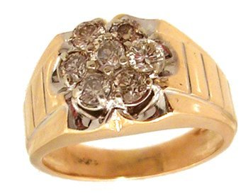 2107: 14KY .70cttw Diamond Round Cluster Mens Ring