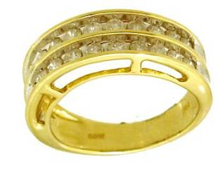 14KY 1.00cttw Dia Rd Double Channel Band Ring