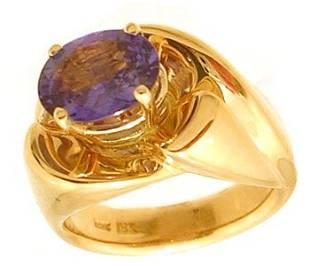 18KY 1.97ct Purple Sapphire oval .12ct diamond ri