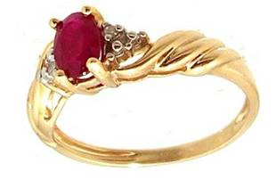 10KY .50ct Ruby Oval Diamond Ribbed Ring