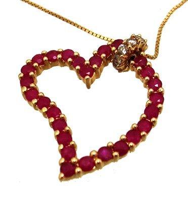 1303: 14KY 1.36ct Ruby Rd .20ct Diamond Curved Heart Ne