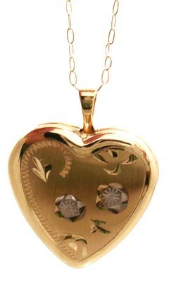 1308: 14KY Heart Locket floral Necklace w chain