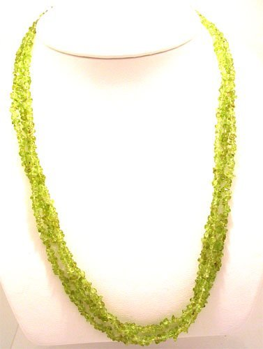 1326: 10KY 150cttw Peridot 3 strand necklace