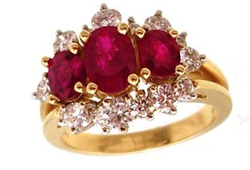 1385: 18KY 2cttw Ruby 3 oval 1cttw Dia ring APP R $6150