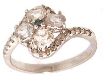 800: 14KW .88cttw White Sapphire .22ctw Diamond Ring