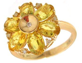 801: 14KY 3.69cttw Yellow Sapphire Dia Flower Ring